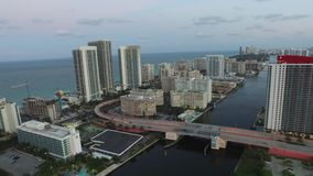 Aerial video Hallandale FL at dusk 4 stock video footage