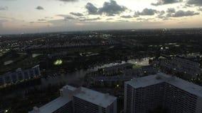 Aerial video Hallandale FL at dusk 7 stock video