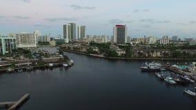 Aerial video Hallandale FL at dusk 8 stock footage