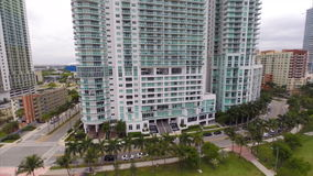 Aerial video of high-rise condominiums in Miami stock footage