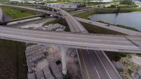Aerial video of a highway with cars in motion Royalty Free Stock Photo