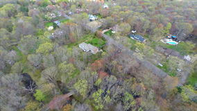 Aerial video of homes in the woods Stock Photography
