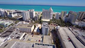 Aerial video of Hotels on Miami Beach stock video footage