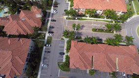 Aerial video housing community flyover and turn stock video footage