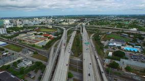 Aerial video of I95 and Downtown Miami stock video