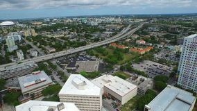 Aerial video of I95 and Overtown Miami FL stock video