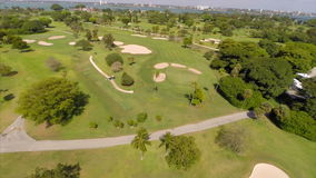 Aerial video of the Indian Creek Golf Course stock footage