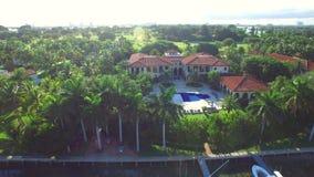 Aerial video Indian Creek Miami Beach estates stock video footage