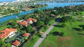 Aerial video Indian Creek Miami Beach estates stock video