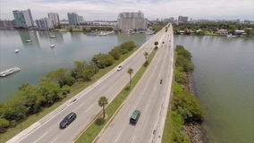 Aerial video JFK Causeway Miami stock footage