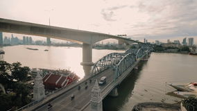 Aerial video of Krung Thep Bridge at sunset stock footage