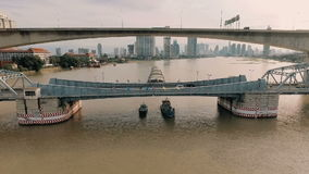 Aerial video of Krung Thep Bridge at sunset stock video footage