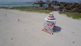 Aerial video lifeguard tower Miami Beach stock video