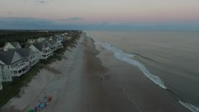 Aerial view of North Carolina Beach at Sunrise stock video footage