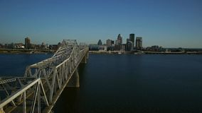 Aerial video of the Louisville Skyline and Ohio Ri stock video