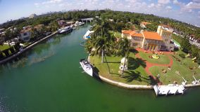 Aerial video of luxury estates in Miami Beach stock video footage