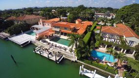 Aerial video of luxury estates in Miami Beach stock footage