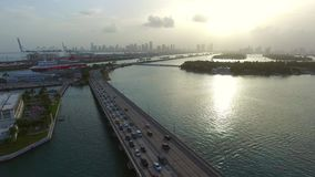 Aerial video of the Macarthur Causeway stock footage