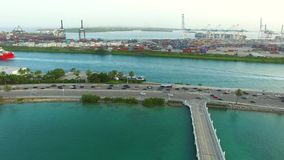 Aerial video Macarthur Causeway and Port Miami stock video