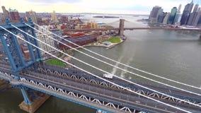 Aerial video Manhattan Bridge stock video