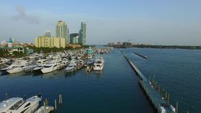 Aerial video of the Miami Beach Marina stock video