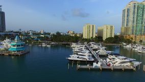 Aerial video of the Miami Beach Marina 2 stock video footage