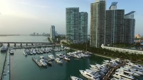 Aerial video of the Miami Beach Marina 3 stock footage