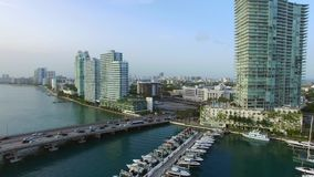 Aerial video of the Miami Beach Marina 4 stock video footage