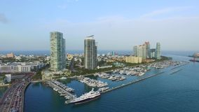 Aerial video of the Miami Beach Marina 5 stock video