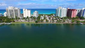 Aerial video Miami Beach oceanfront condos. Aerial 4k video of Oceanfront condos in Miami Beach FL stock footage