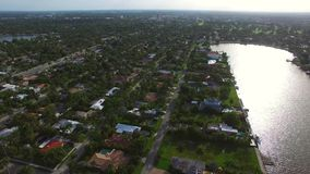 Aerial video of a neighborhood stock footage