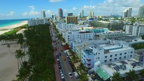 Aerial video Ocean Drive Miami Beach FL stock video footage
