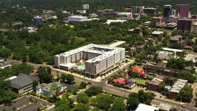 Aerial video ONYX Apartments construction site Downtown Tallahassee inspection stages