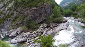 Aerial video over the ara river, parque Nacional Ordesa y Monte Perdido in Spain Stock Images