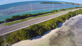 Aerial video of Overseas Highway Florida Keys Stock Image