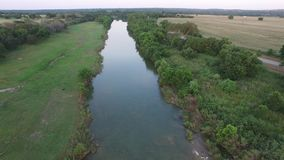 Aerial video of the Pedernales river in Stonewall. stock video footage