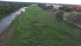 Aerial video of the Pedernales river in Stonewall. stock video