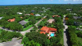 Aerial video of Pinecrest Miami fL stock footage
