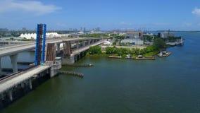 Aerial video Port Miami bridge stock video