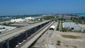 Aerial video of Port Miami FL stock video