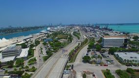 Aerial video of Port Miami FL 2 stock video footage