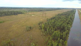Aerial video of power lines stock footage