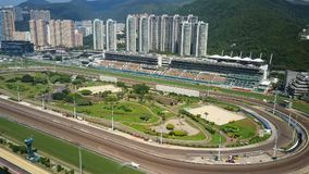 Aerial video of racecourse. Hong Kong, China - May 31, 2017: 4k aerial video of racecourse in Hong Kong stock video footage