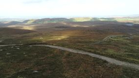 Aerial of remote Irish countryside stock video footage