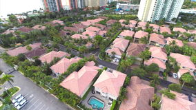 Aerial video of a residential neighborhood. In Sunny Isles Beach FL stock video