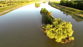 Aerial video with a river with islands 3 stock video