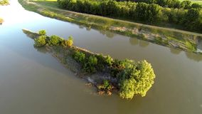 Aerial video with a river with islands 9 stock video