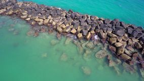 Aerial video Rocks and water Miami Beach stock video