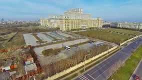 Aerial video with Romanian Parliament stock footage