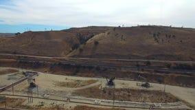 Aerial video of San Ardo oil fields stock video footage